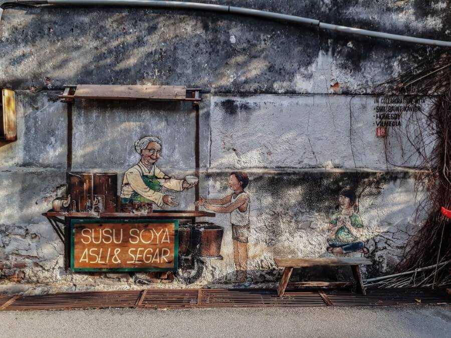 susu soya street art penang malaysia