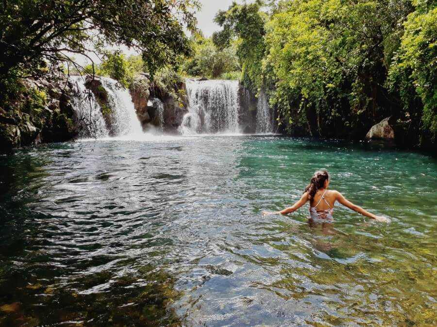 Twin waterfalls Eau Bleue Mauritius