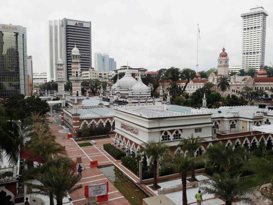 View of Masjid Jamek from the train station