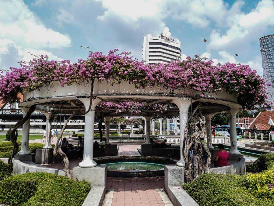Colorful flowers at merdeka square park KL itinerary