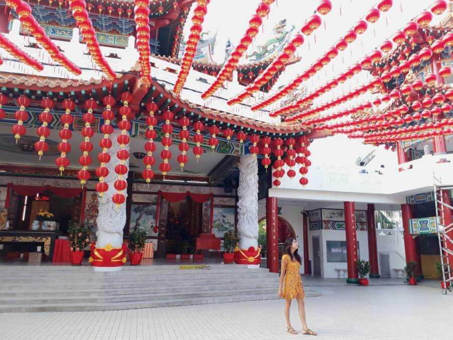 Girl walking around Thean Hou Temple in KL