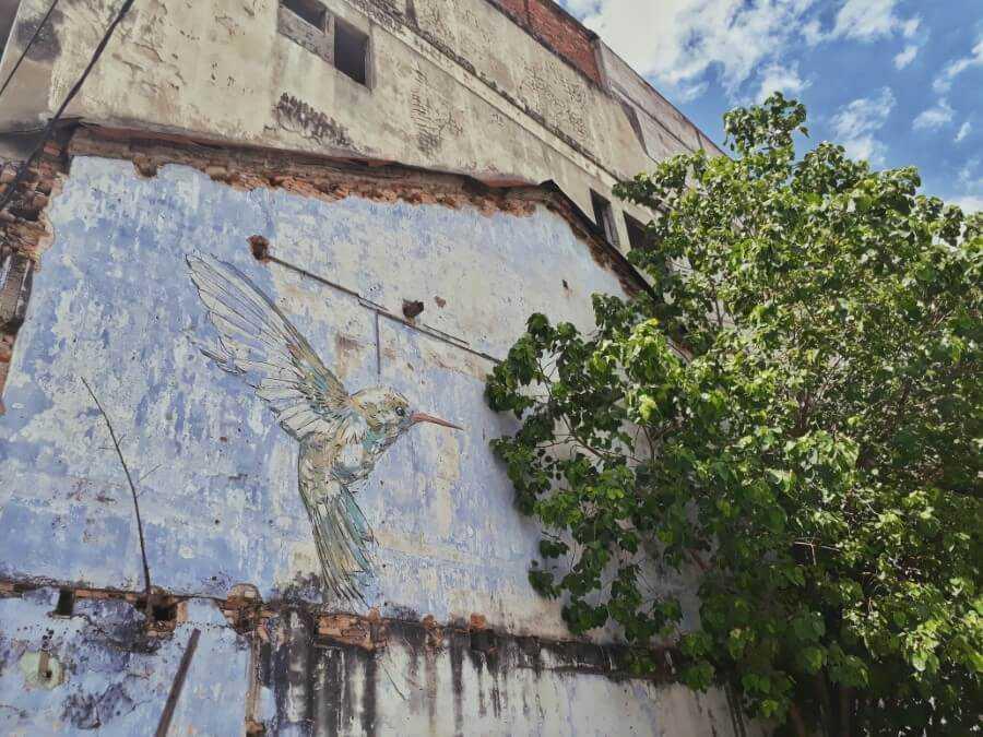 Ipoh Mural - Yellow Hummingbird