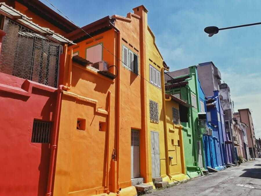 colorful buildings in ipoh mural art's lane