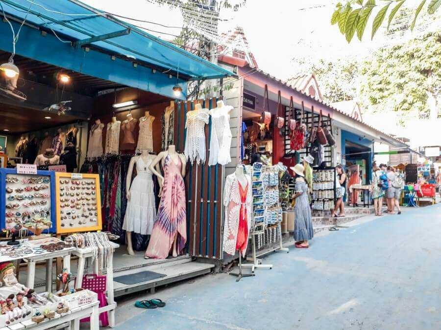 clothing stores on walking street in koh lipe