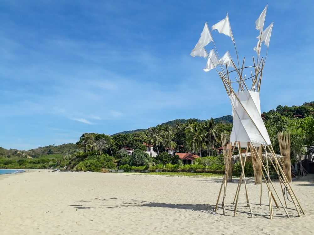 Bamboo structures on Ba Kantiang Beach Koh Lanta Thailand