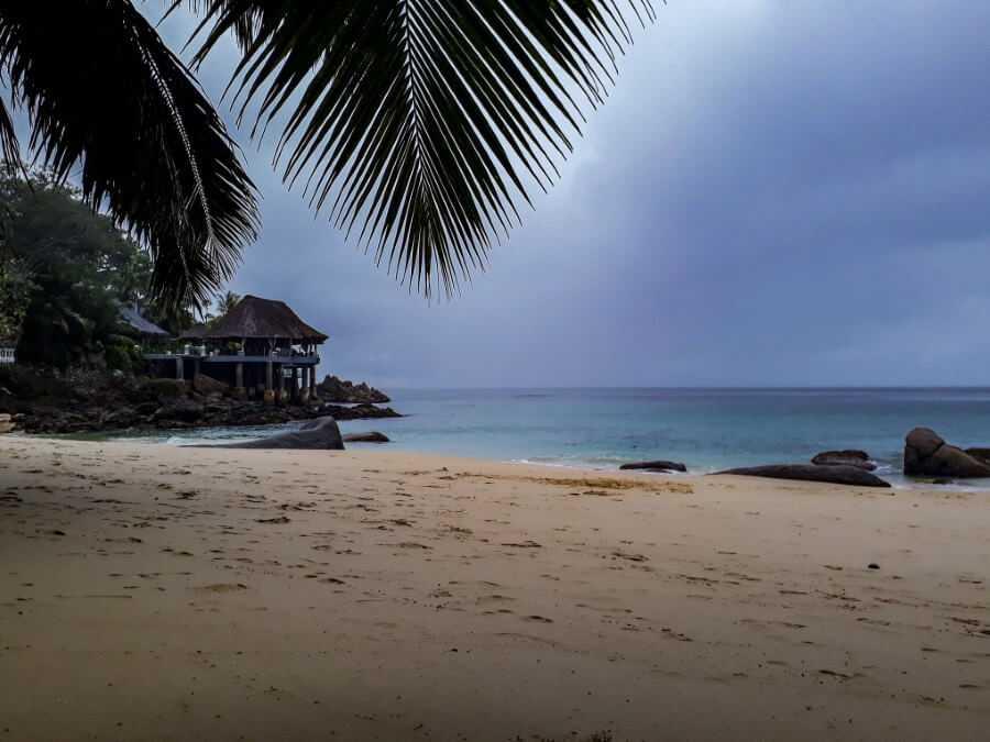 Sunset Beach In Seychelles on a gloomy day
