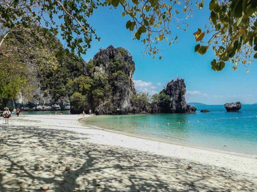 White sand and limestone cliffs on Hong island in Krabi