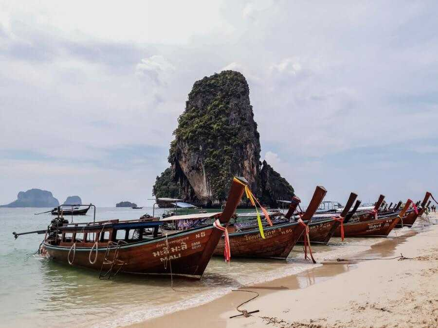 Boats on Phra Nang Beach Thailand