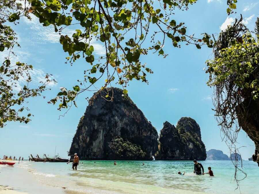 Towering karst cliffs on Phra Nang Beach Krabi