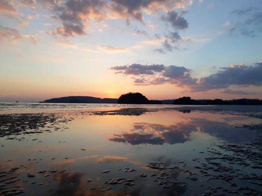 Pink sunset on Nopparat Thara Beach Krabi