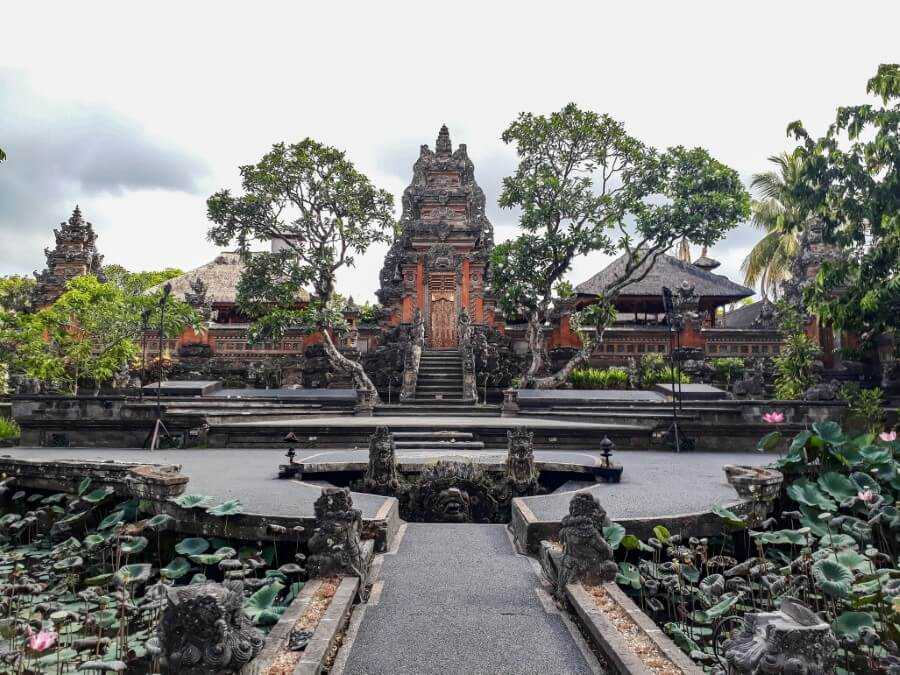 Saraswati Temple in Ubud surrounded by lotus pond