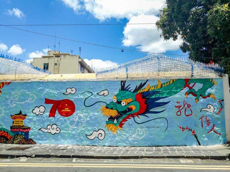 Dragon street art in Mauritius