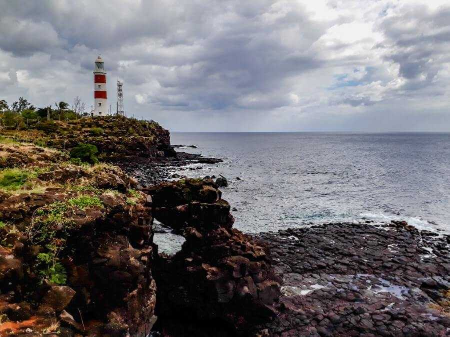 Red and white lighthouse at Albion, Mauritius