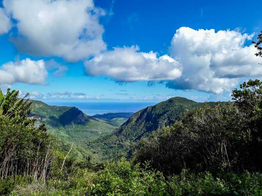 View of mountains and forest at the Black River Gorges National Park in Mauritius