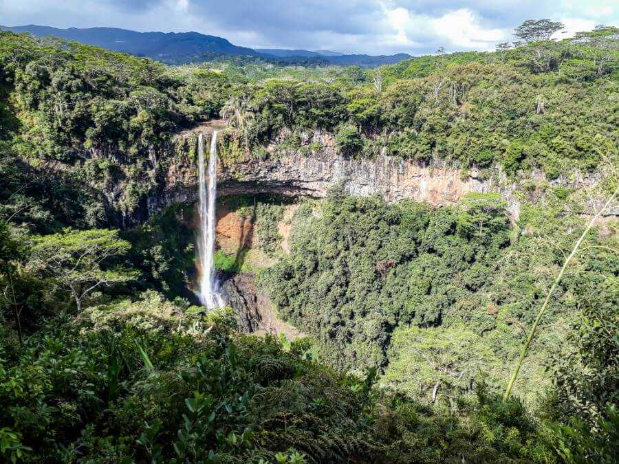 viewpoint of the twin waterfalls at Chamarel waterfall Mauritius