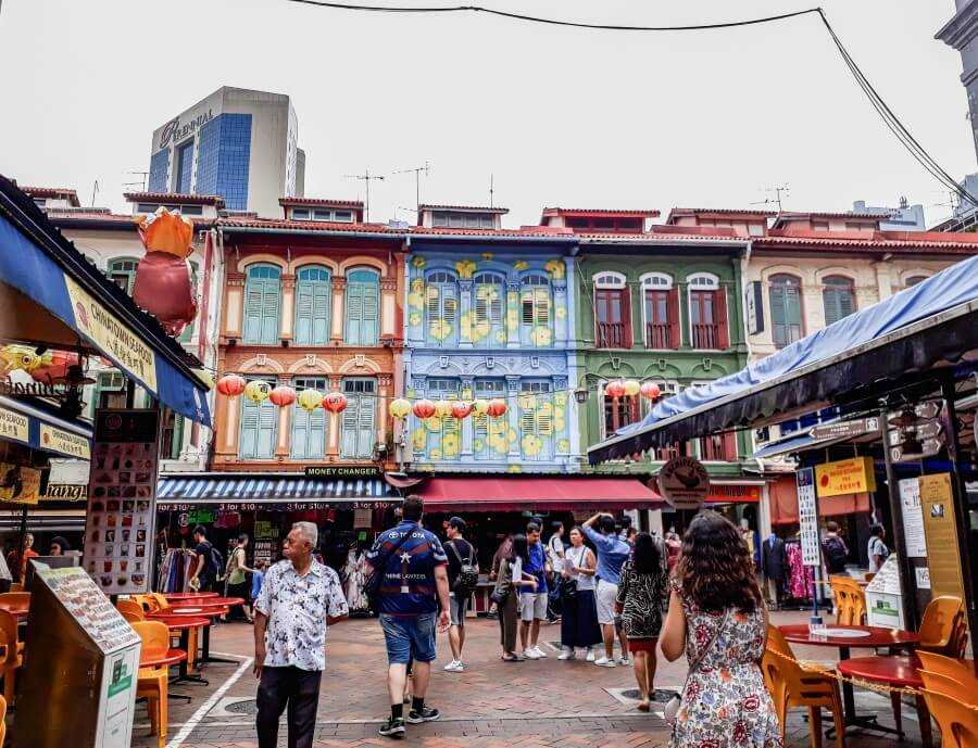 Colorful Peranakan houses on Pagoda Street