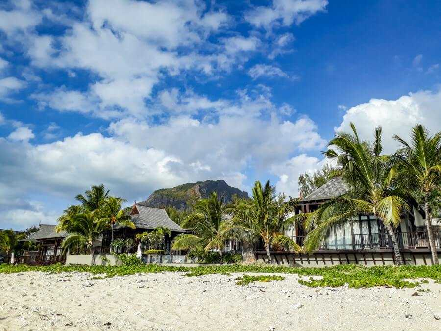 View of hotel rooms in fron of Le Morne Brabant mountain in Mauritius