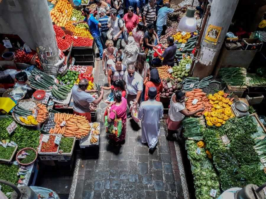 View of fruit and vegetable stalls from the first floor of Port Louis Central Market - Things to do in Mauritius