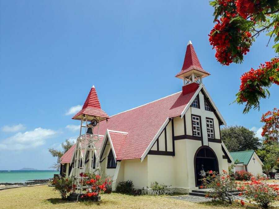 Red roof church in Cap Malheureux Mauritius