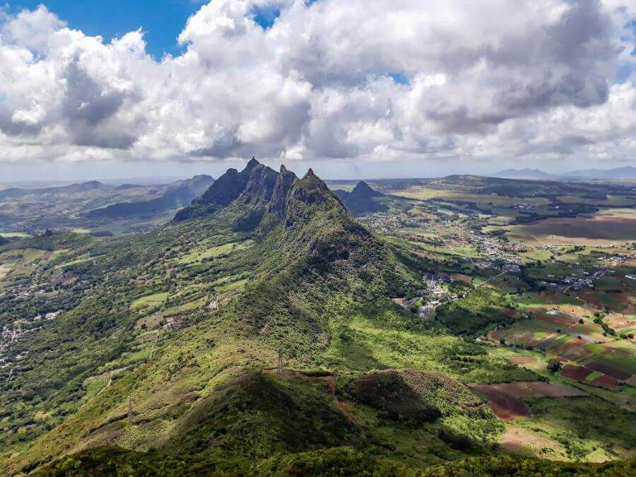 Mountain views from the peak of Le Pouce in Mauritius