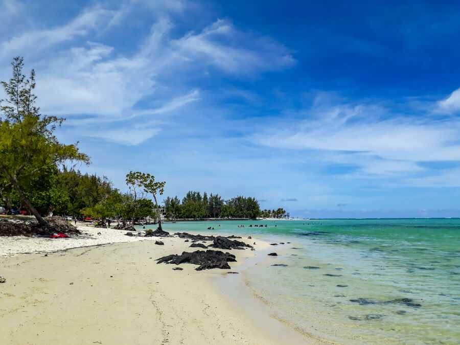 Bras D'eau Beach on a beautiful sunny day in Mauritius