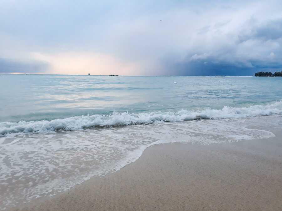 Mon Choisy beach during sunset