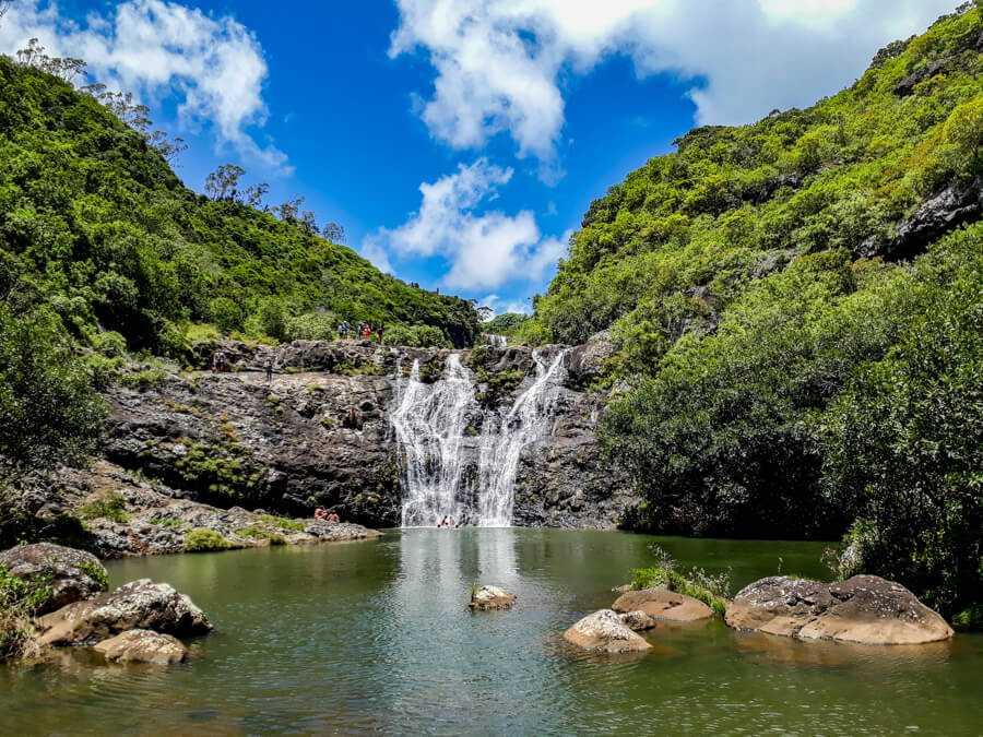 Third waterfall at Tamarind Falls (7 Cascades) in Mauritius