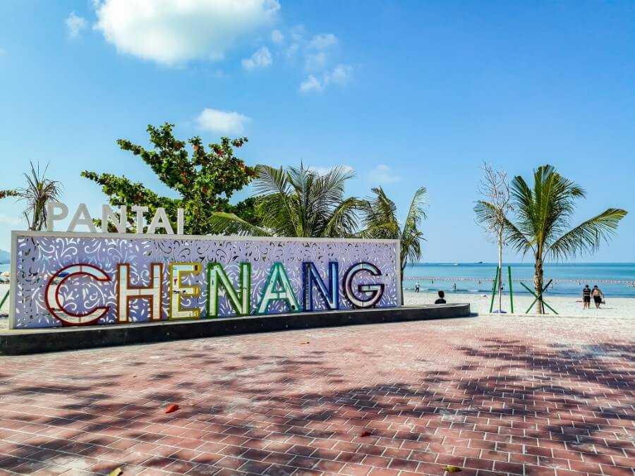 Pantai Chenang sign on the beach in Langkawi