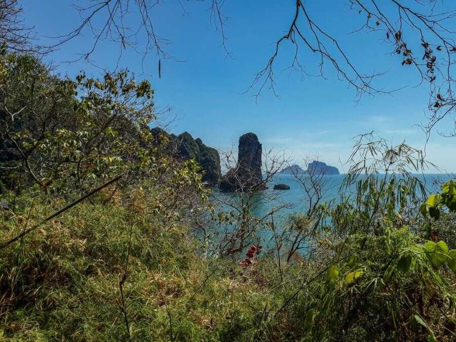 View of limestone cliffs on Pai Plong Beach from the Monkey Trail