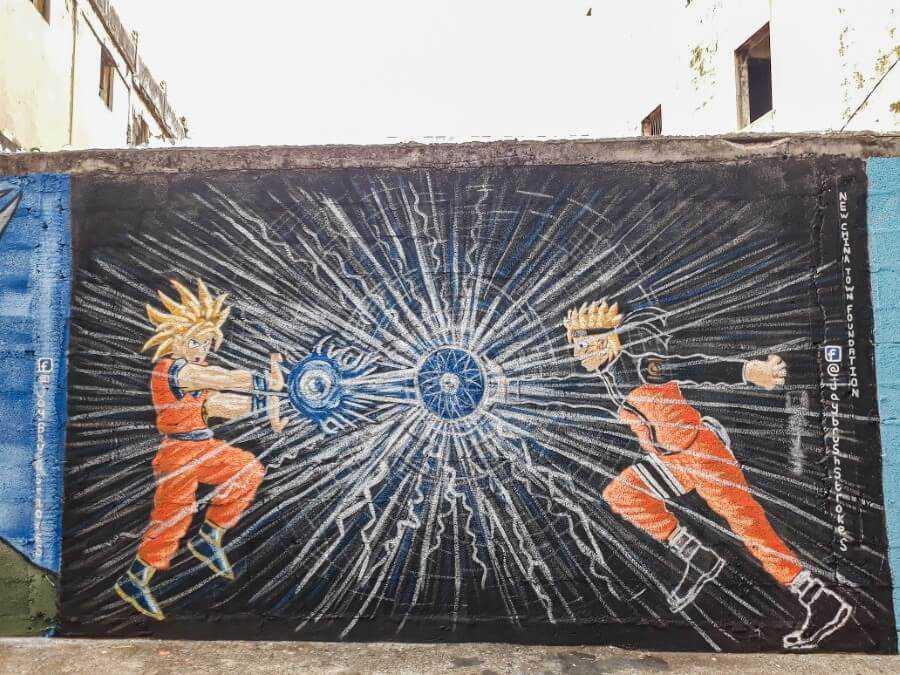 Naruto vs Dragon Ball Z street art in Chinatown Mauritius