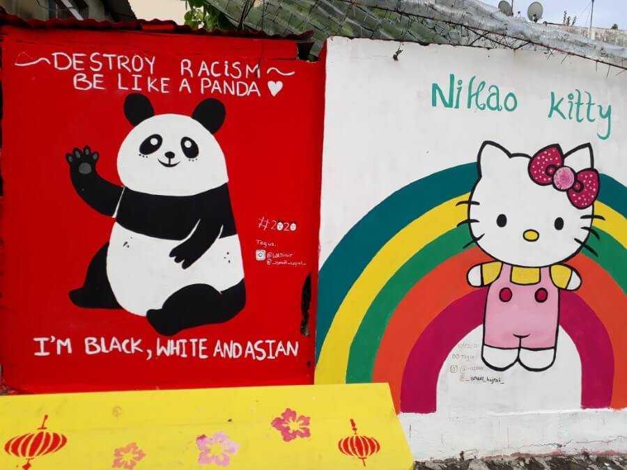 Anti-racist Panda and Hello Kitty