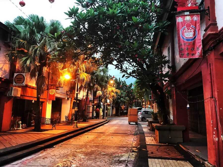 The streets at night in Johor Bahru Malaysia
