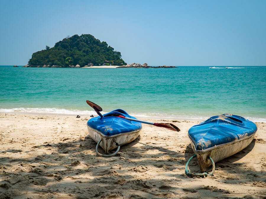 Kayaks on the shore of Pangkor Island