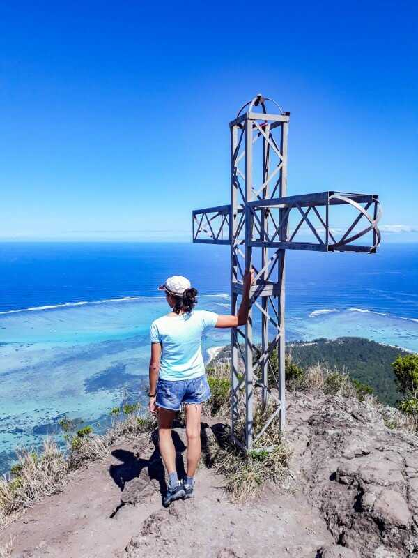 Girl enjoying the view from the top of Le Morne Brabant
