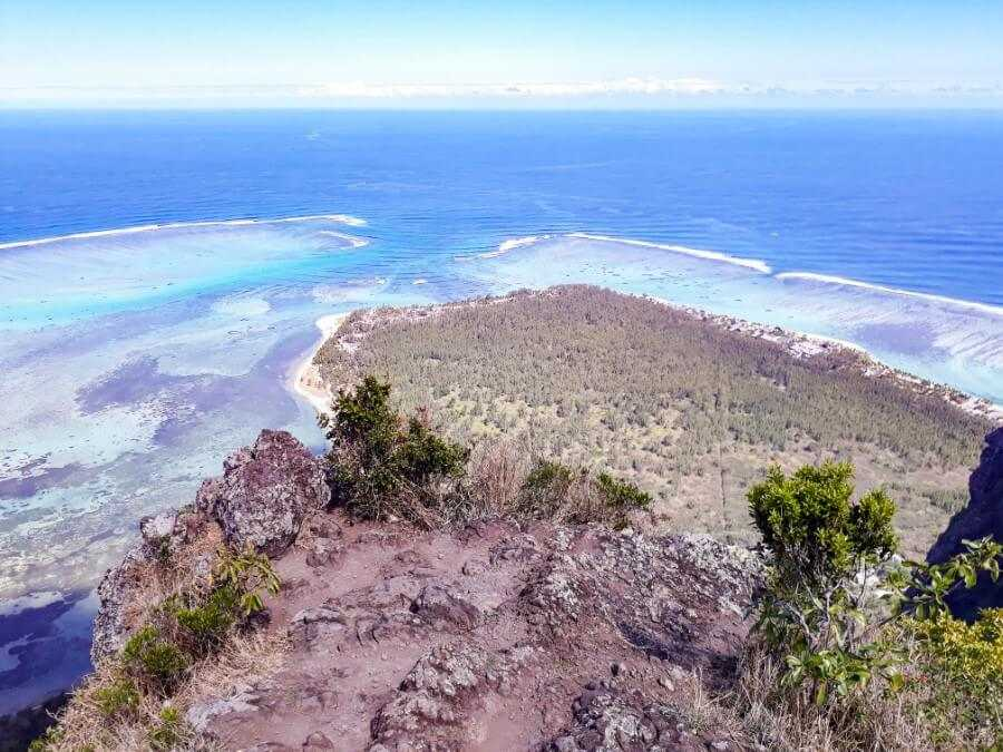 View of the Mauritius underwater waterfall from the summit of Le Morne Brabant