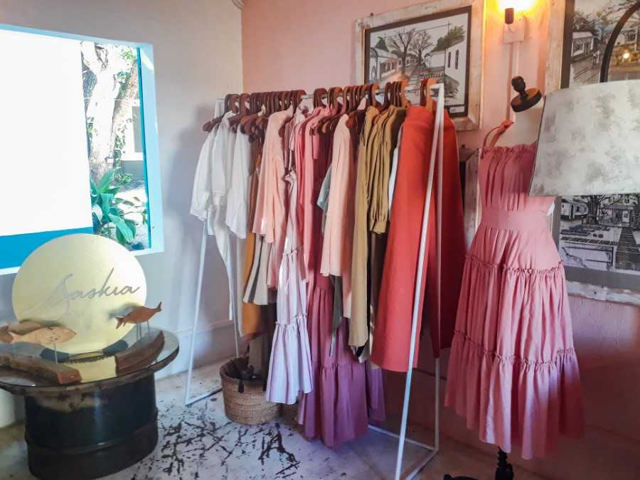 Pink dresses at the Vanilla Boutik in Mauritius