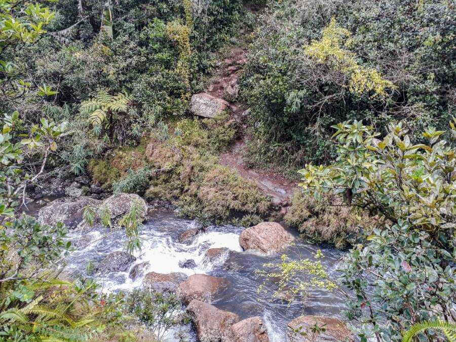 The final river before reaching the waterfall