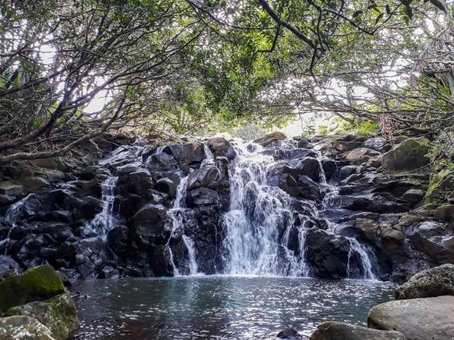 Cascade Vacoas waterfall at La Vallée des Couleurs