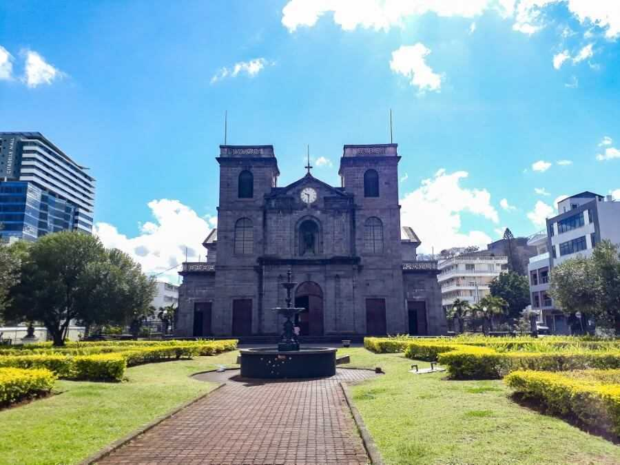 Cross-shaped catholic church in Port Louis
