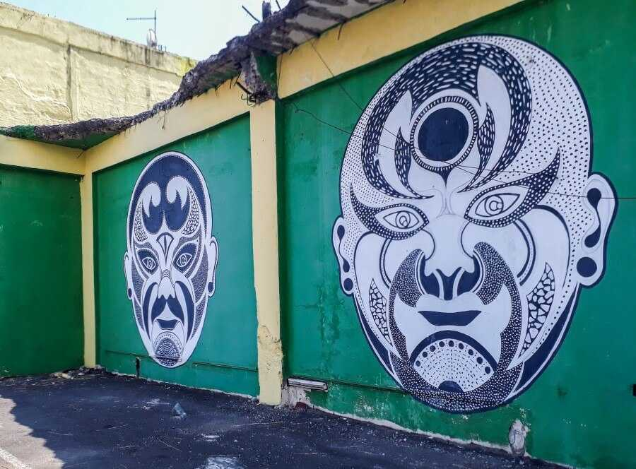 Chinese mask street art in Chinatown