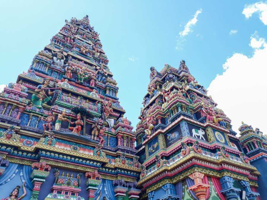 Hindu temple covered with statues of Hindu deities