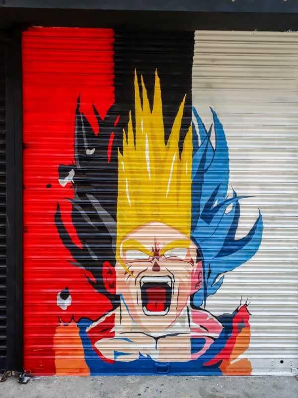 dragon ball z screaming port louis street art