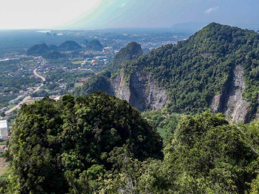 The view of the limestone karst from Tiger Cave Temple