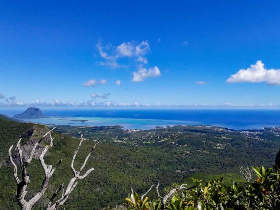 view of Le Morne Brabant and ile aux Benitiers from the summit of Brise Fer Mauritius