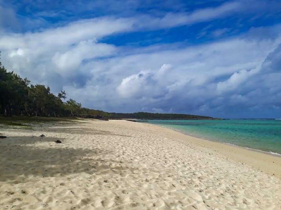an empty white sand beach in Rodrigues
