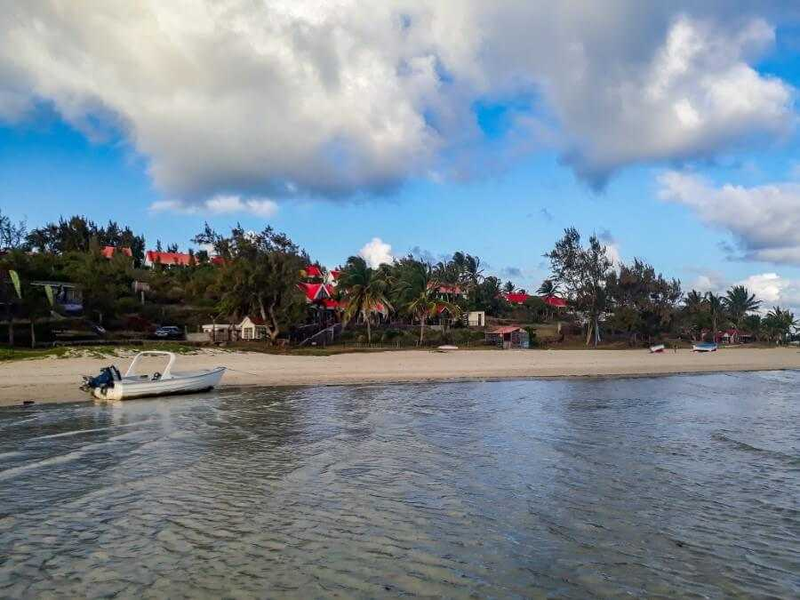 View of Mourouk Ebony Hotel from Mourouk beach in Rodrigues