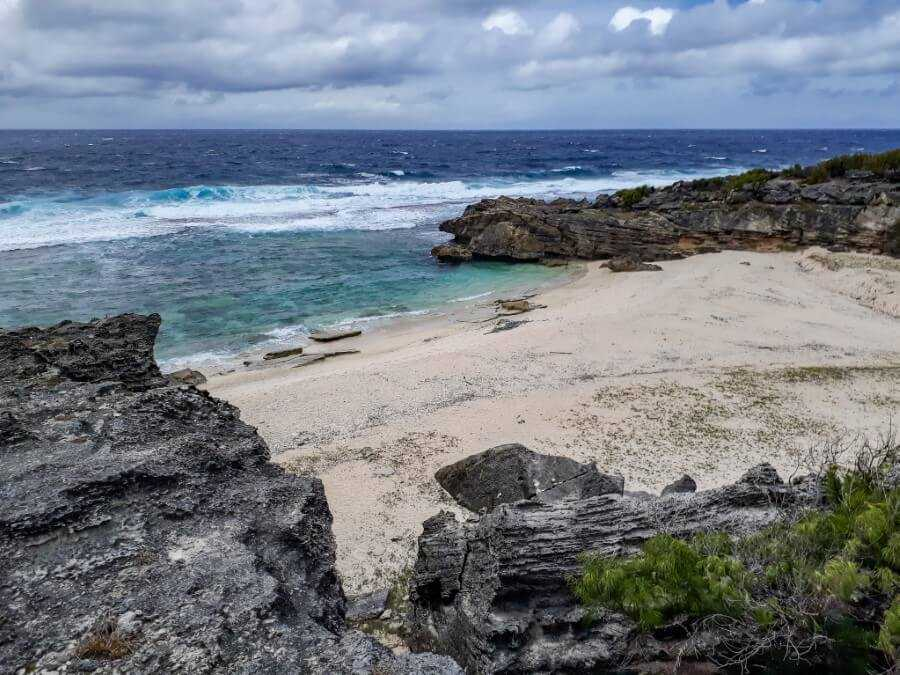 Grande Anse beach flanked by rocky outcrops