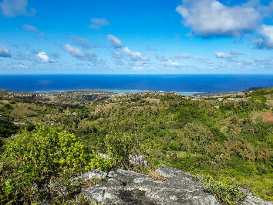 Grande Montagne Nature Reserve viewpoint of forests and turquoise ocean