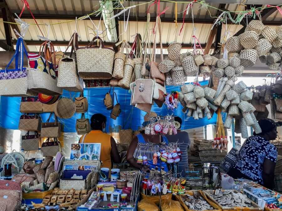 Rattan baskets, handbags and souvenirs for sale at Port Mathurin Market