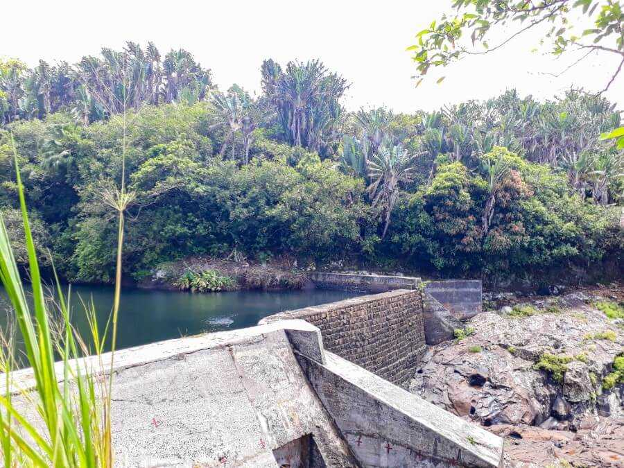Dam or man-made waterfall at Cecile Dam in Mauritius